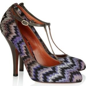 Missoni Purple Zig-zag Crochet Leather Pumps